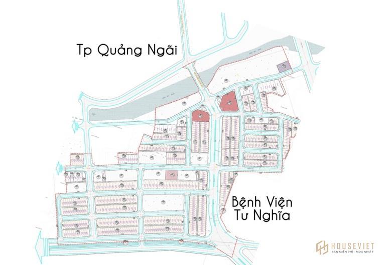 Mặt bằng của dự án khu dân cư Tây Bàu Giang