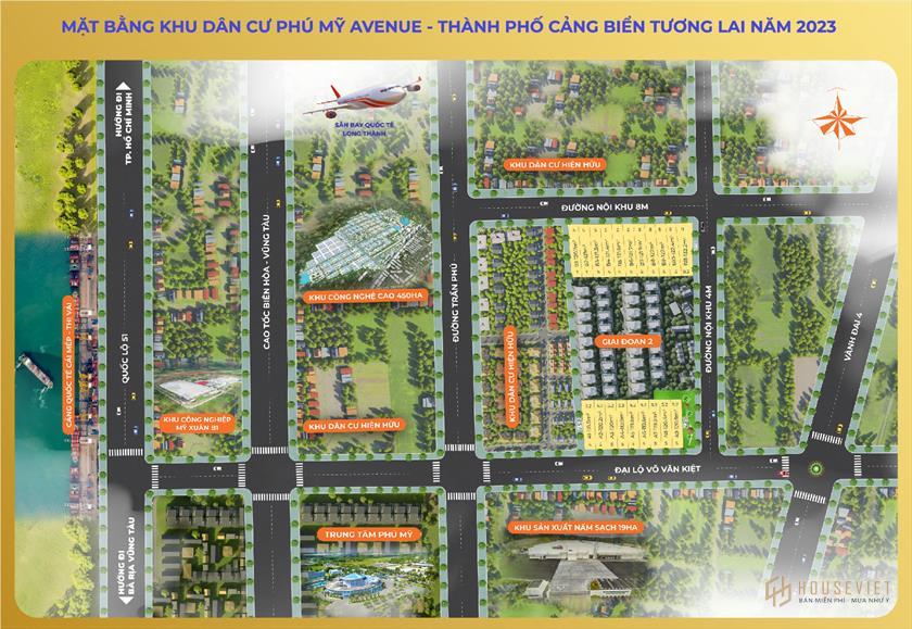 Sơ đồ phân lô dự án khu dân cư Phú Mỹ Avenue