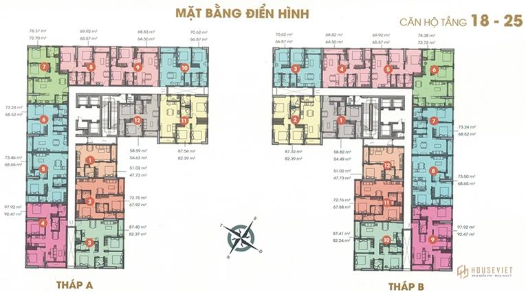 Mặt bằng tầng căn hộ điển hình Central Premium Tạ Quang Bửu