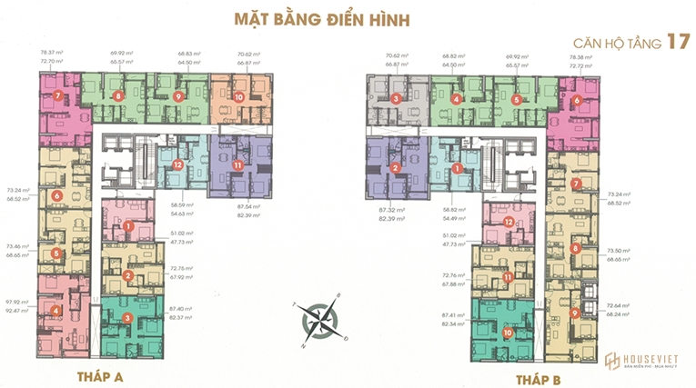 Mặt bằng tầng căn hộ điển hình Central Premium Tạ Quang Bửu 2