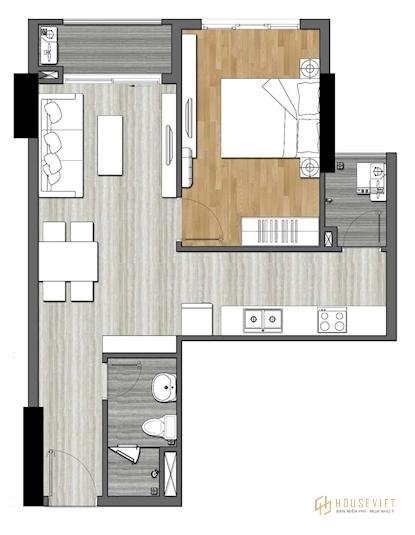 Bản thiết kế căn hộ 1 phòng ngủ - 9X Next Gen