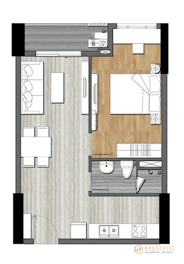 Bản thiết kế căn hộ 2 phòng ngủ - 9X Next Gen