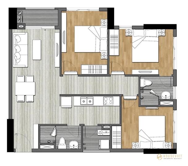 Bản thiết kế căn hộ 3 phòng ngủ - 9X Next Gen