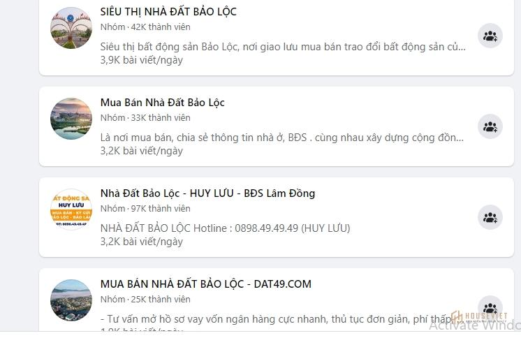 Theo thống kê, có hơn 30 nhóm Facebook (mỗi nhóm hơn 10.000 thành viên) đang rao bán đất nền tại Bảo Lộc
