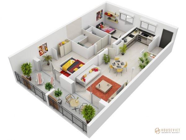 Mẫu thiết kế căn hộ 2 phòng ngủ đẹp năm 2020