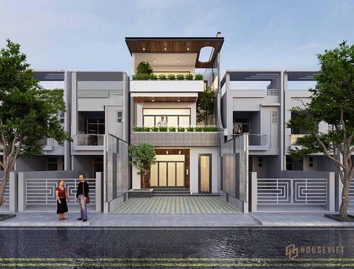 Mẫu thiết kế nhà 3 tầng 6x11m mái bằng hiện đại