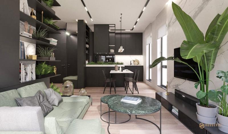 Căn hộ 54 m² phá vỡ mọi quy tắc màu sắc bằng cách kết hợp màu đen và xanh lá cây của một nữ doanh nhân