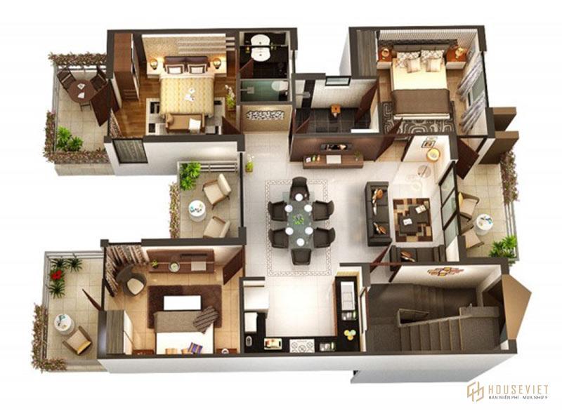 Mẫu căn hộ 3 phòng ngủ đẹp