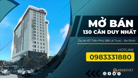 Bán căn officetel tòa nhà 67 Trần Phú (8B Lê Trực) 50m2 1PN, 3 tỷ, cho thuê 300 triệu/năm