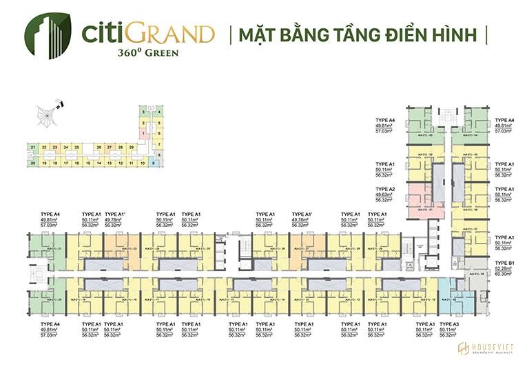 Mặt bằng tầng điển hình - Citi Grand Kiến Á.