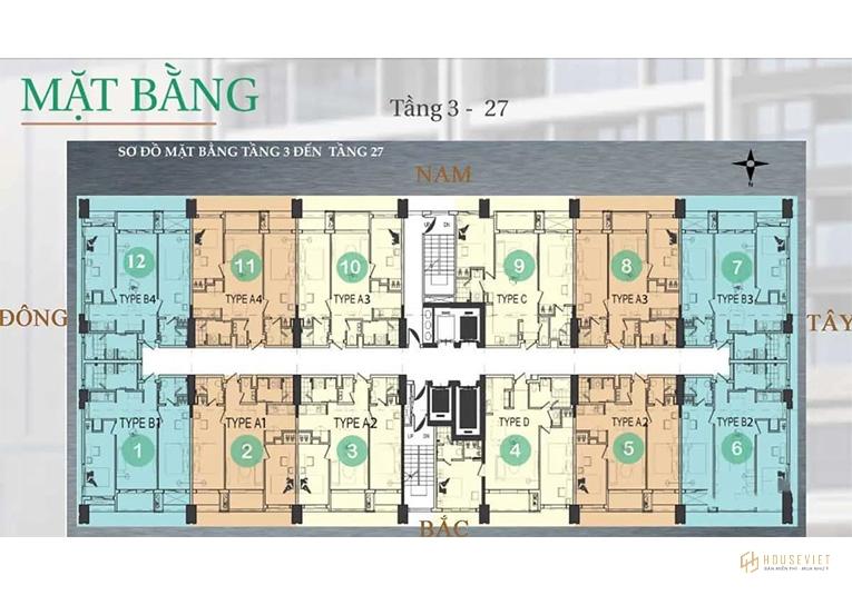 Mặt bằng tầng điển hình căn hộ The Royal Đà Nẵng